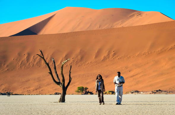 Explore the Sossusvlei desert dunes on foot.