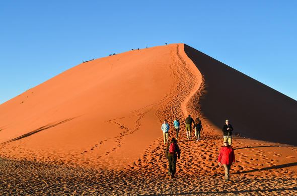 Hiking up Dune 45 in Sossusvlei.
