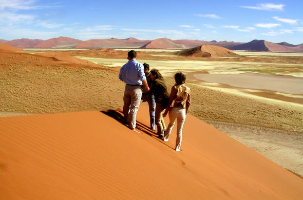 Guided dunes walking tour in Nambia.