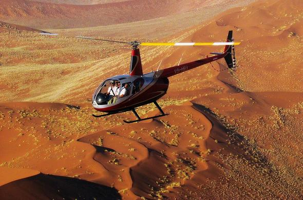 Flight over the Sossusvlei Dunes in Namibia.