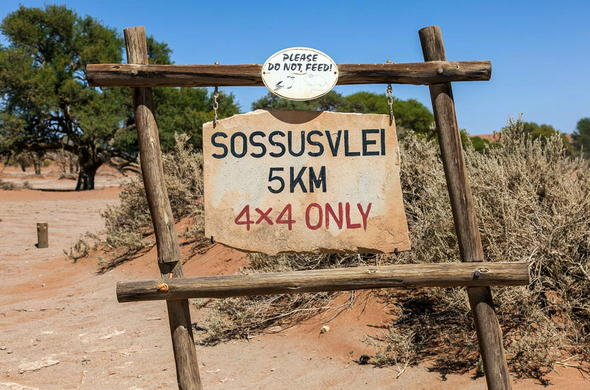 Sossusvlei signage 4x4 vehicle only.