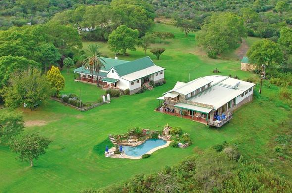 An aerial view of Spionkop Lodge.
