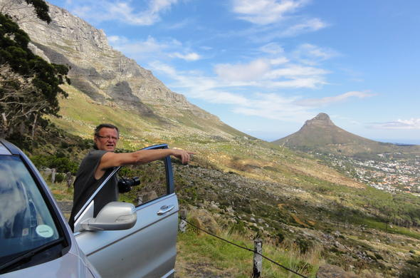 Drive along Table Mountain in Cape Town.