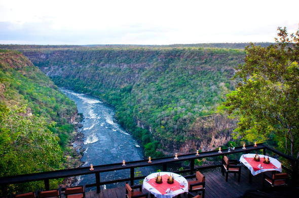 Dine on the deck of Taita Falcon Lodge with exquisite Zambezi River sightings.