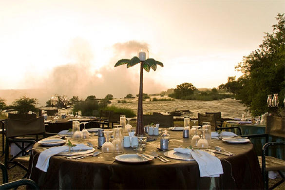 Dinner with a view of the Vic Falls.