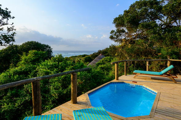 Relax in the plunge pool on the Thonga Beach Lodge deck.