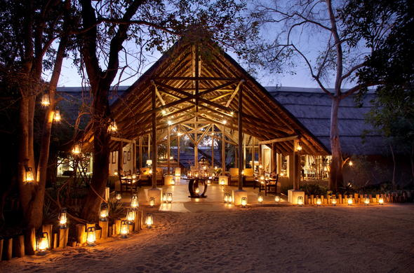 Stunning Thornybush Game Lodge reception area by night.