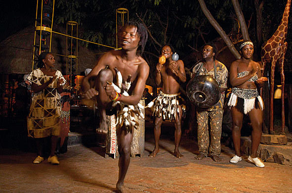 Boma dancers at the Place of Eating restaurant