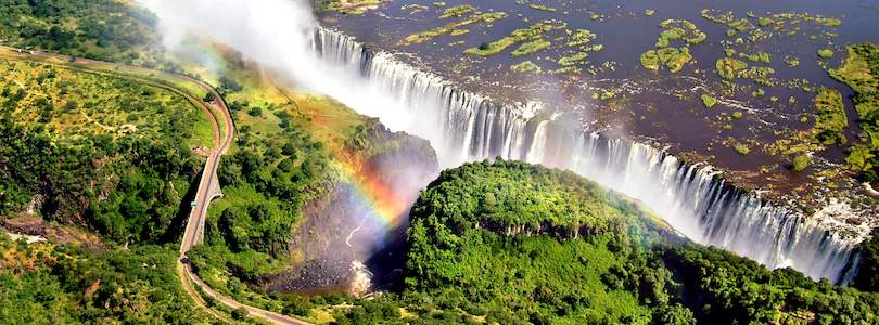 Aerial view over Victoria Falls.