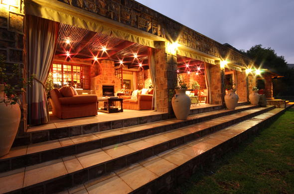 The terrace of Walkersons Hotel and Spa has a fireplace and comfortable lounge.