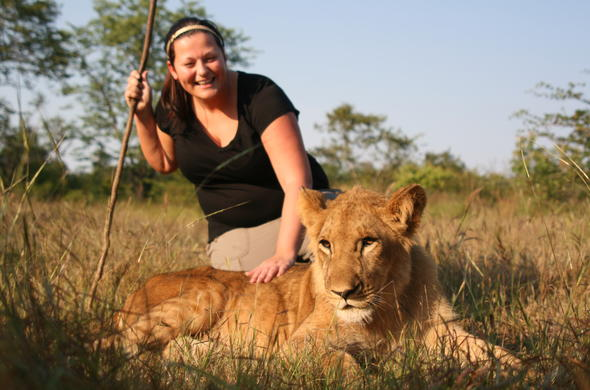 Walking with lions at Victoria Falls.