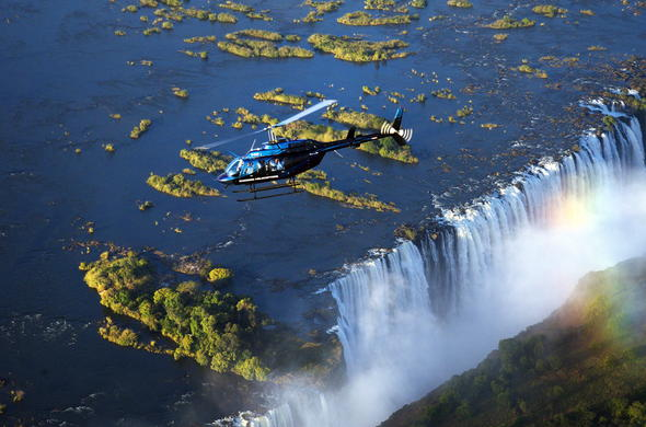 Helicopter over Victoria Falls.