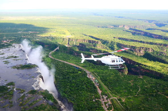 Helicopter flight over Victoria Falls.